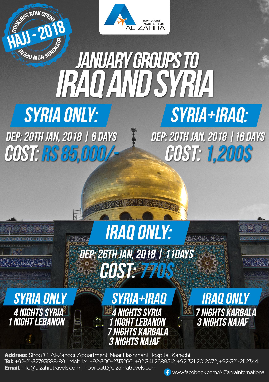 January Package Syria Handbill Al Zahra Travel Tours